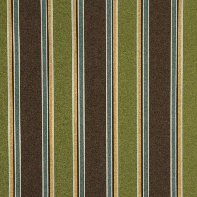 Green Brown Blue And Gold Striped Indoor Outdoor Upholstery Fabric By The Yard Tropical Palazzo Fabrics