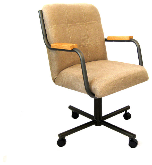 Casual Rolling Caster Dining Chair With, Padded Dining Room Chairs With Casters