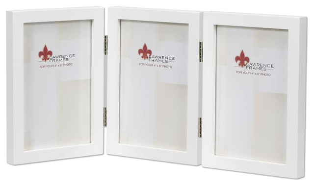 4x6 Hinged Triple White Wood Picture Frame - Gallery Collection