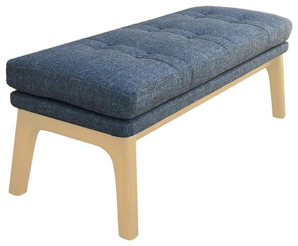 Strange Mid Century Modern Ottoman Bench Footrest Pouf Grey Gray Light Wood Tone Unemploymentrelief Wooden Chair Designs For Living Room Unemploymentrelieforg