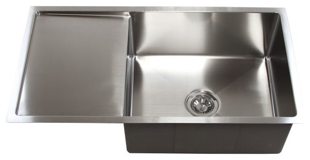 36 Stainless Steel Undermount Single Bowl Kitchen Sink With Drain Board Contemporary Kitchen