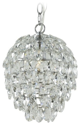 Contemporary Crystal Chandelier Pendant Light, Chrome, 2247.