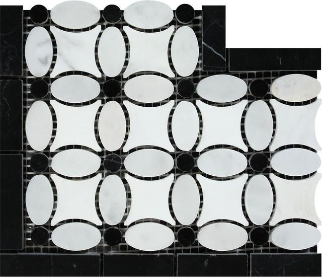 4x12 Carrara Polished Corner, Thassos Ephesus+ Carrara Black Dots, Set of 5 by Meraki Group