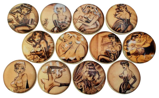 Vintage Pin Up Girls Cabinet Knobs, 12-Piece Set ...
