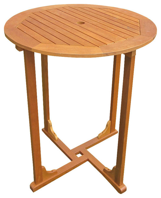 Royal Tahiti Outdoor Wood Bar Height Round Table,Brown Stain