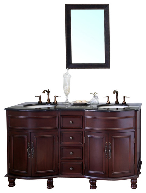 62 double sink vanity solid wood cherry finish black granite countertop traditional - Traditional bathroom vanities double sink ...