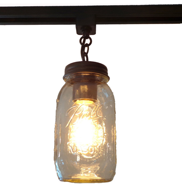 Mason Jar Track Lighting Single New Quart Rubbed Bronze