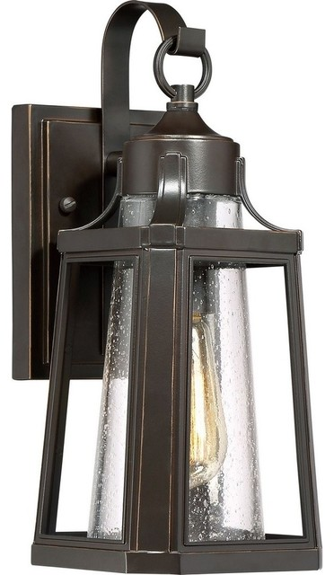 Lighthouse 100w 1-Light Outdoor Small Wall Palladian Bronze Clear Seedy Glass.