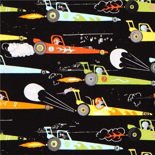 black Michael Miller fabric rats in racing car