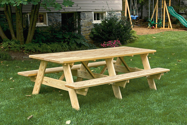 Pressure Treated Pine 3x8 Picnic Table With Attached Benches