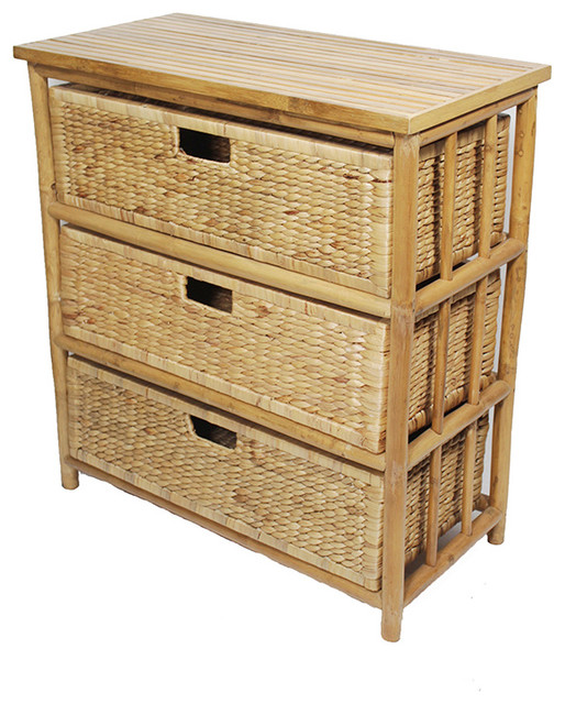Kona Open Sided Bamboo Storage Chest With 3 Hyacinth Storage Baskets