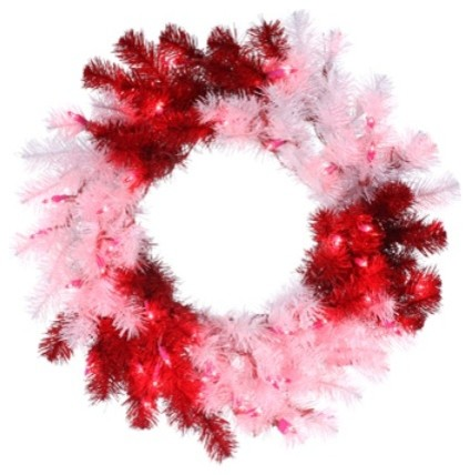 "29"" Peppermint Twist Red And White Christmas Tinsel Wreath, Clear Lights."