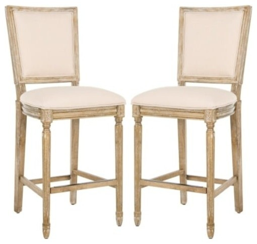 Groovy Safavieh Fox6246 Set2 Buchanan 23 5 Rubberwood Bar Stools Set Of 2 Creativecarmelina Interior Chair Design Creativecarmelinacom