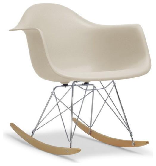 Baxton Studio Dario Beige Plastic Mid Century Modern Shell Chair Midcentury  Rocking Chairs