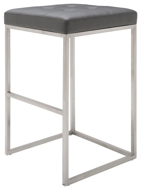 """Chi Bar Stool,  29.75"""" , Brushed Stainless Steel Frame, Gray"""