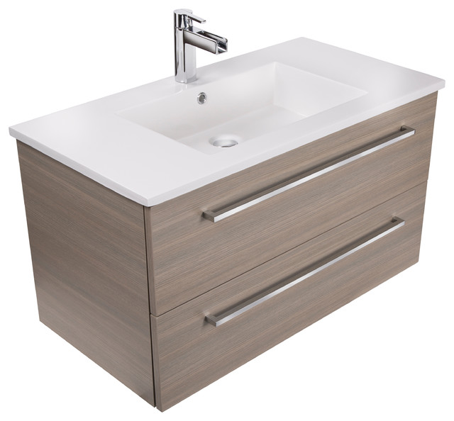 Silhouette 2 Drawer Wall Mounted Vanity Contemporary Bathroom
