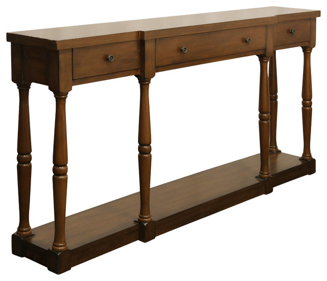 Springfield 3-Drawer Wood Console Table, Cherry Finish.