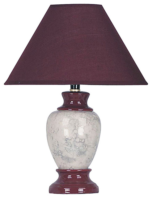 13 tall ceramic table lamp urn shaped with burgundy finish linen shade