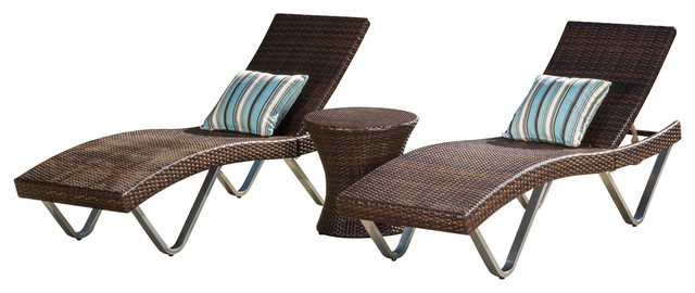 Worrin Multibrown 3 Piece Chaise Lounge Chair And Table.
