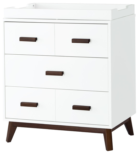 Scoot 3 Drawer Changer Dresser In White/ Walnut Midcentury Changing Tables