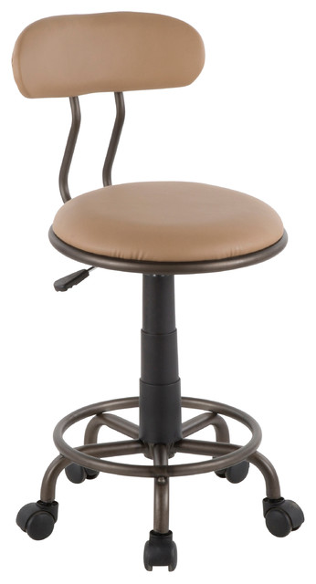 Lumisource Swift Task Chair, Antique Metal and Camel PU Leather
