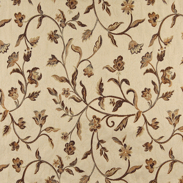 Gold ivory Tapestry floral pattern Curtain Fabric Material 137cm wide BR312