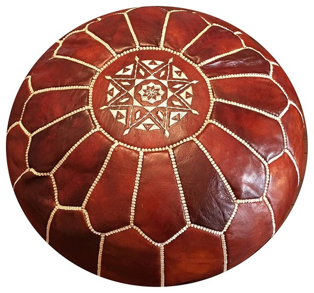 Super Moroccan Pouf Ottoman Leather Tobacco Stuffed Short Links Chair Design For Home Short Linksinfo