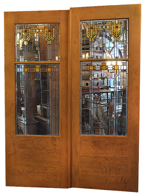 Consigned Oak Prairie French Door And Hardware Set