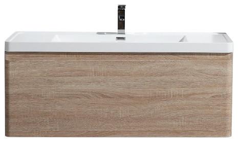 "Alegria Wall-Mounted Vanity With Acrylic Sink, White Oak, 48""."