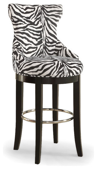 buy popular 6a3ed fdfc1 Peace Zebra-Print Patterned Fabric Upholstered Barstool With Metal Footrest