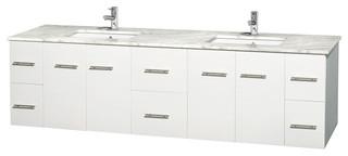 "80"" Double Bathroom Vanity in White, White Carrera Marble Countertop"