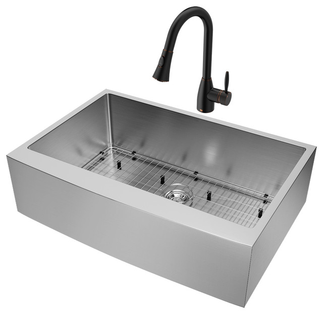 Vigo All In One Camden Farmhouse Kitchen Sink Set: VIGO All-In-One Camden Stainless Steel Farmhouse Kitchen