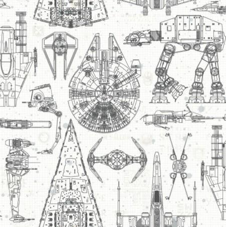 Star Wars Blueprint Peel And Stick Wallpaper.