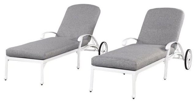 Home Styles Floral Blossom Lounge Chairs In White, Set Of 2.