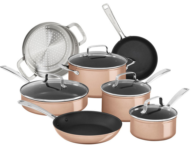 Hard Anodized Nonstick 11-Piece Cookware Set, Toffee Delight.