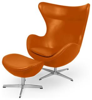 Kardiel Amoeba Aniline Leather Chair and Ottoman, 2-Piece Set, Caramel