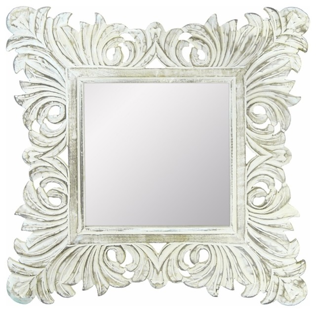 Distressed Mirror With Wooden Frame, White.
