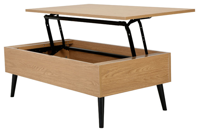 Caleb Brown Wood Lift Top Storage Coffee Table Midcentury