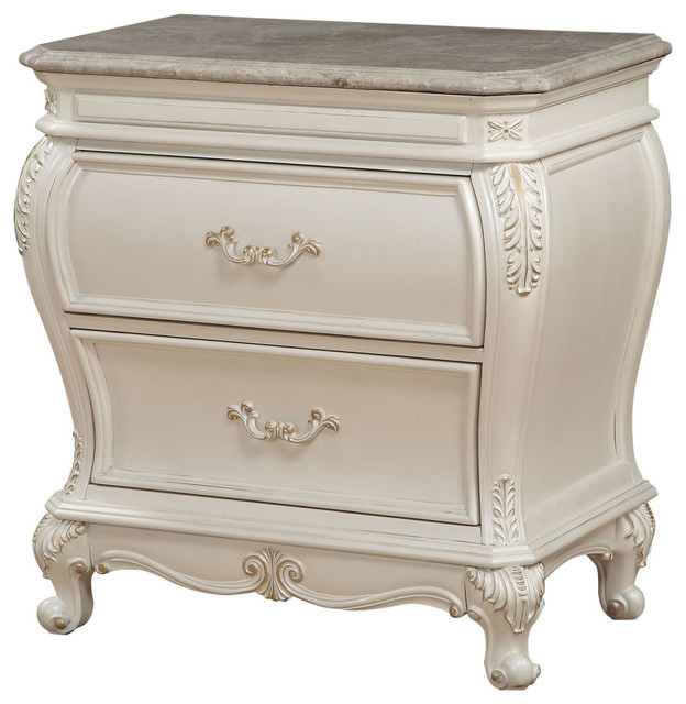 Victorian Tv Stand: Chantelle Nightstand With Granite Top, Pearl White