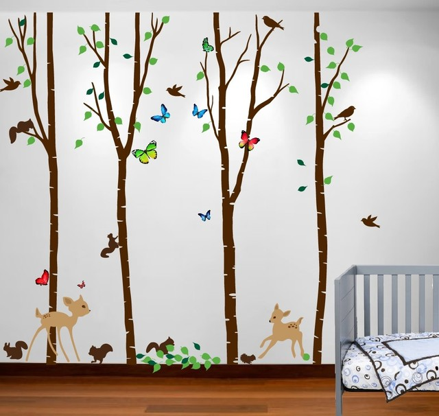 Birch Tree Forest Set With Deer Birds Animals Squirrels Baby Nursery Wall Decal,.