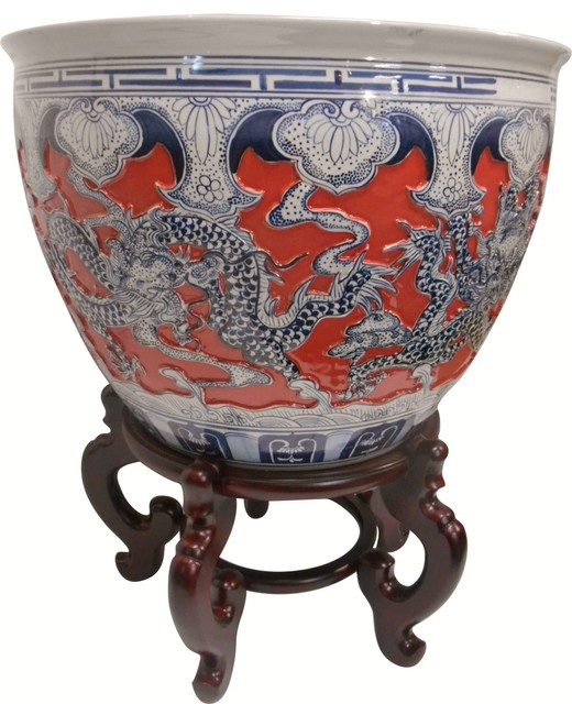 Carved Chinese Porcelain Dragon Fish Bowl Imperial C Glaze