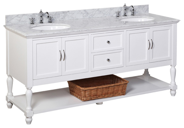 "Beverly 72"" Double Bath Vanity With Carrara Top, White"