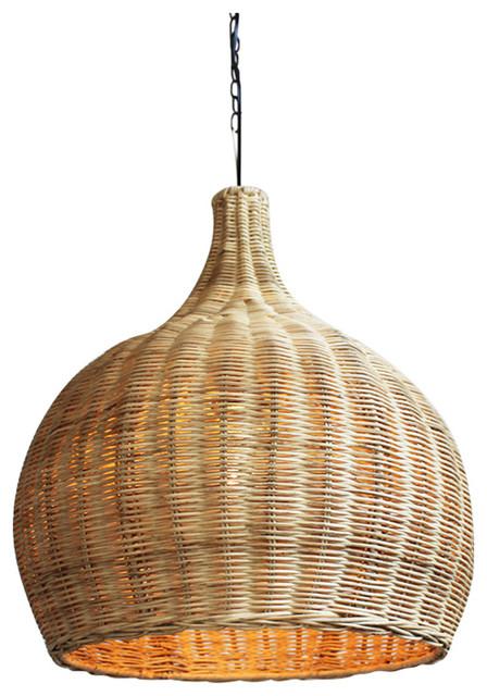 Raw Wicker Bell Lantern Tropical Pendant Lighting By