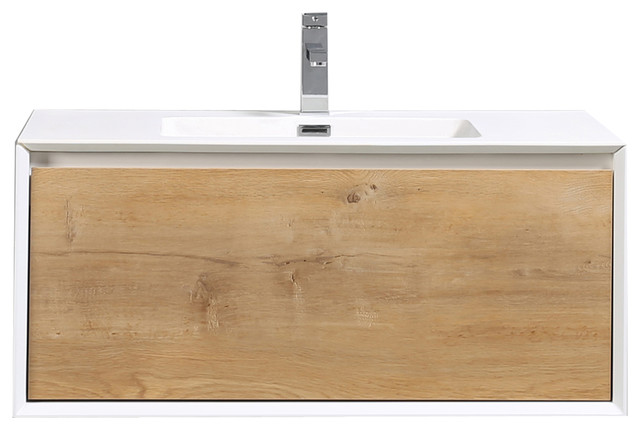 Eviva Vienna 36 In. Oak White Wall Mount Bathroom Vanity With Integrated Sink.