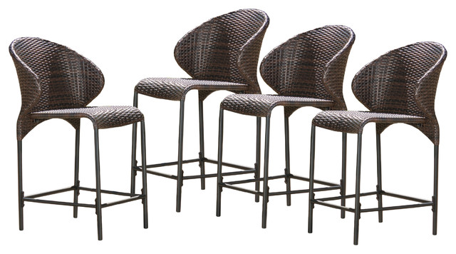 Bennett Multi Brown Wicker Counter Stools Set Of 4