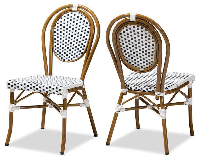 Excellent Gauthier Indoor Outdoor Navy White Bamboo Stackable Dining Chair Set 2 Inzonedesignstudio Interior Chair Design Inzonedesignstudiocom