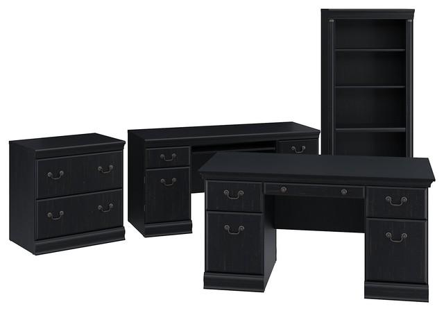 """60"""" Executive Desk, Credenza, Cabinet And Bookcase, Black"""