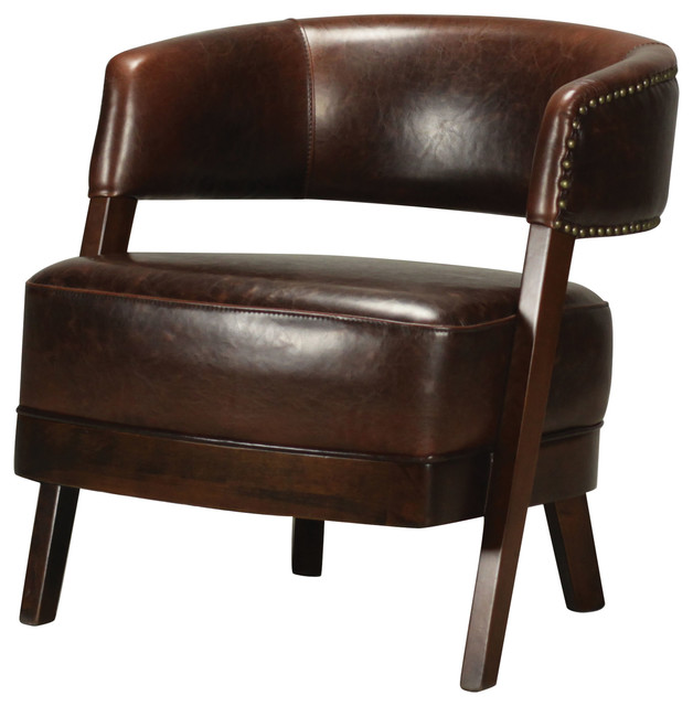 Bethany Hill Leather Walnut Open Back Barrel Chair