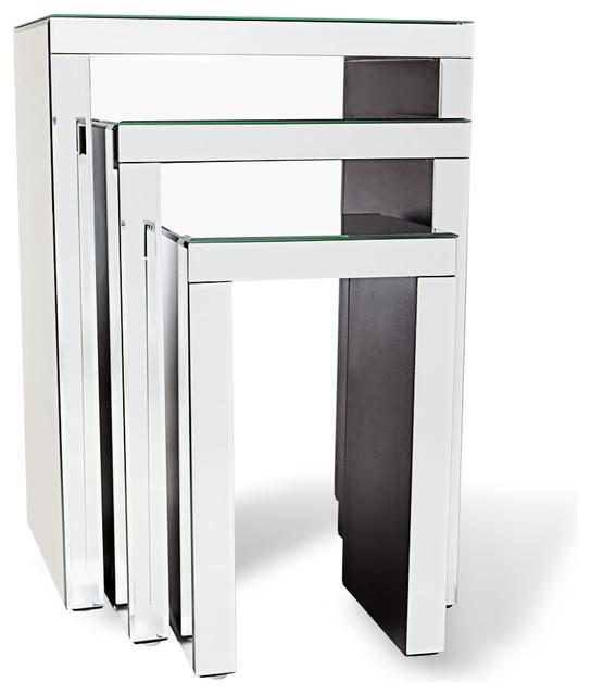 Marvelous Celeste Mirrored Glass Nesting End Tables 3 Piece Set