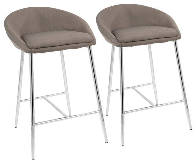 """LumiSource Matisse 26"""" Counter Stool With Gold Frame and Cream, Set of 2, Chrome"""